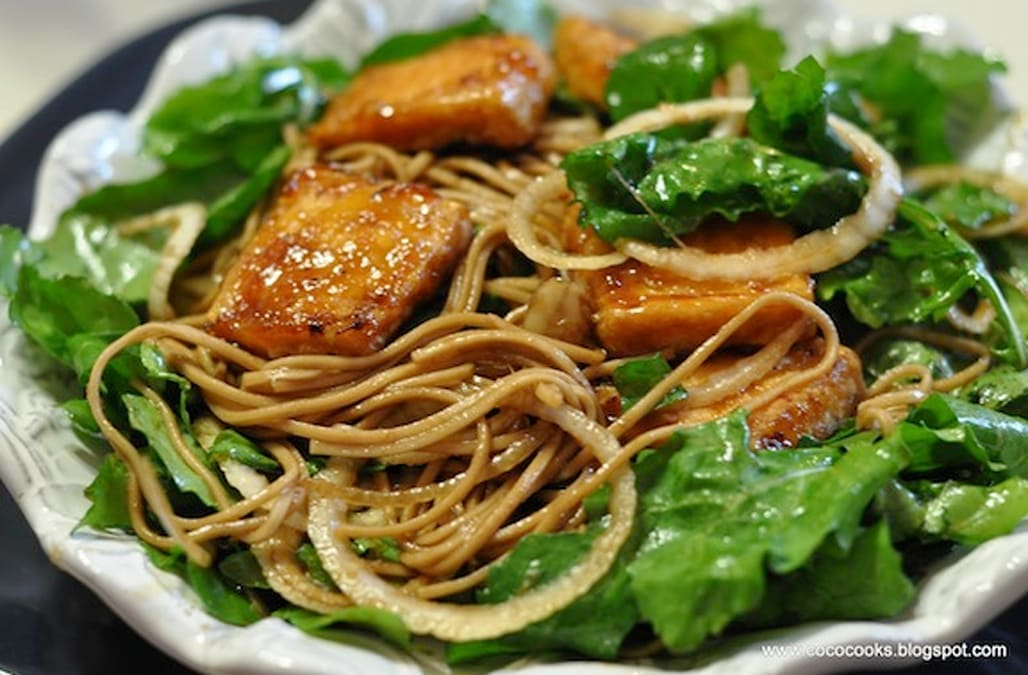 Warm BBQ Crispy Tofu Buckwheat Soba & Arugula Salad - AOL.com