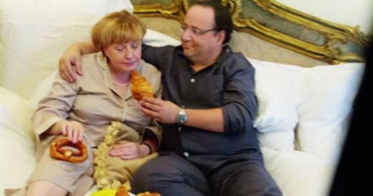 Hollande et merkel en une de m le magazine du monde d gustent des viennoiseries au lit - Charline vanhoenacker vie privee ...