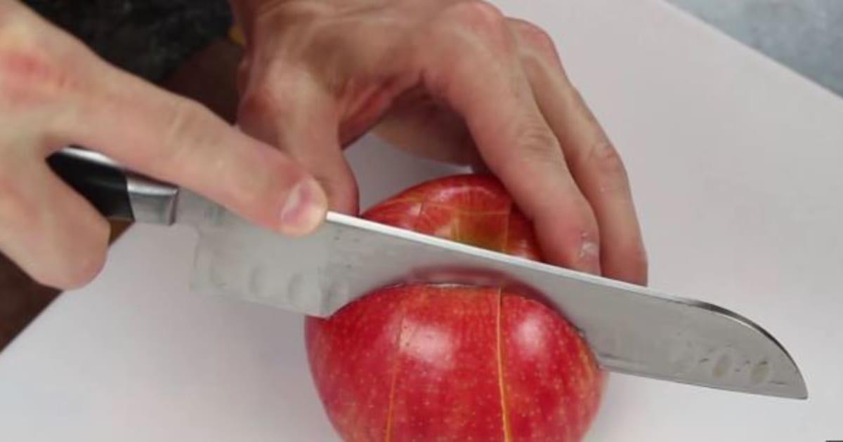 Vid o un tuto pour couper sa pomme d 39 une mani re intelligente - Couper des pommes en lamelles ...