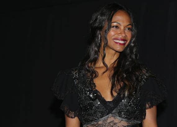 Zoe Saldana wears sheer black dress