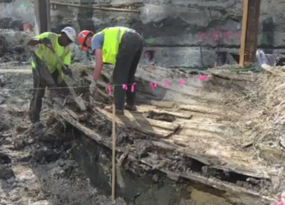 Boston workers finds buried wrecked ship