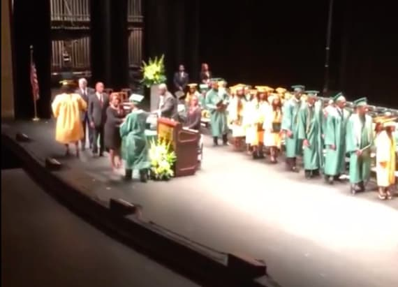 Murdered teen's son accepts her high school diploma
