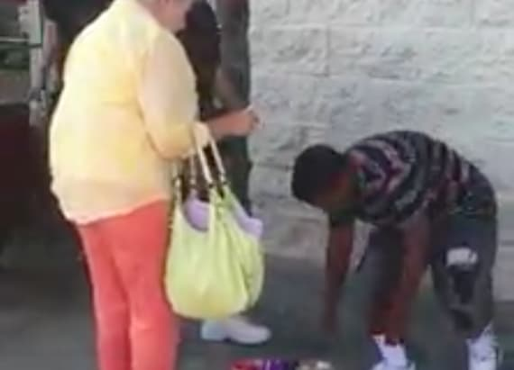 Girl gets scolded by shopper for selling candy