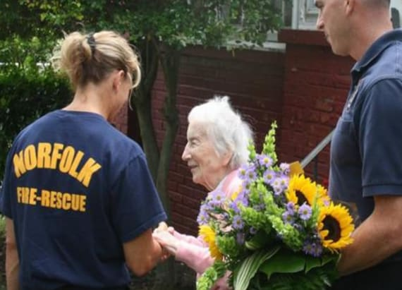 Firefighters celebrate 100-year-old's birthday