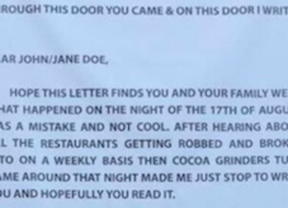 Robbed man writes unbelievable note to thief