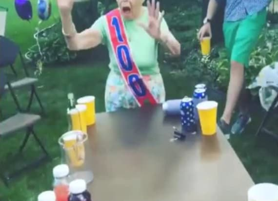 Grandma celebrates 100th birthday with beer pong