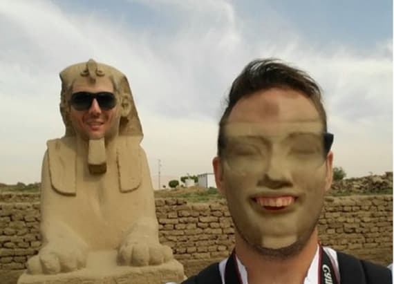 Man's face swap with Egyptian sphinx is everything