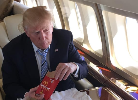Trump celebrates winning GOP race with unlikely meal