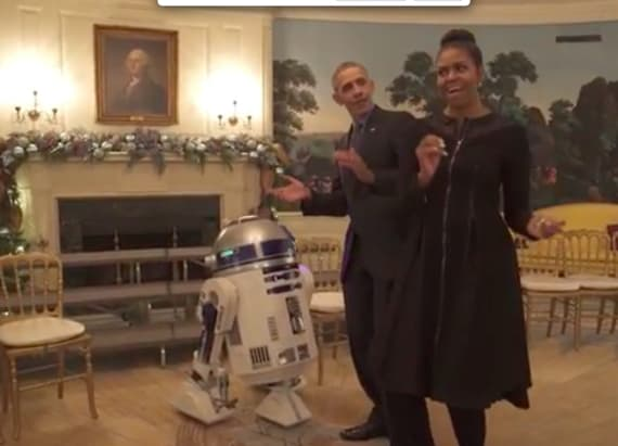 The Obamas dance with R2-D2 on Star Wars Day