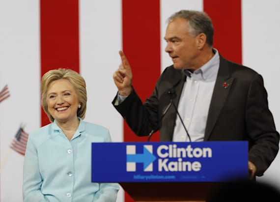 Kaine slams Trump in VP debut speech