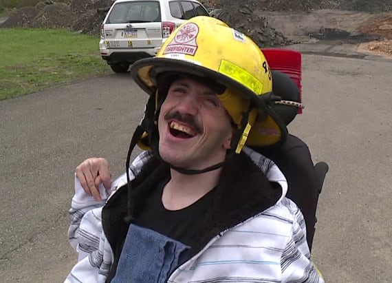 Special honor for firefighter with cerebral palsy