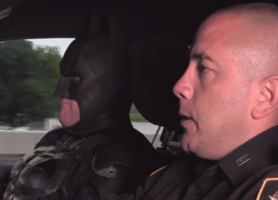 Cop thinks he's Batman in hilarious video
