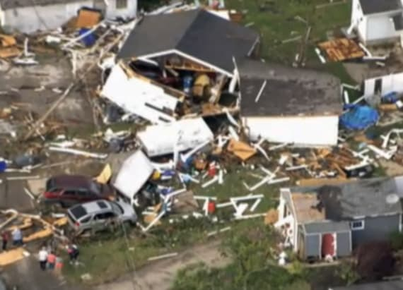 Tornadoes slam central Indiana, demolishing homes