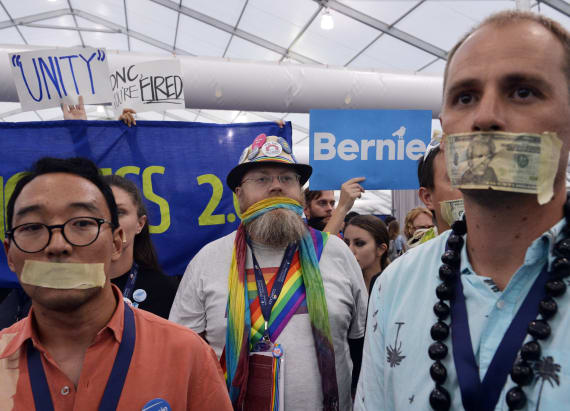 Sanders supporters walk out after Clinton nomination