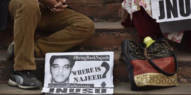 JNU students, Najeeb's family protest outside Delhi Police Headquarters
