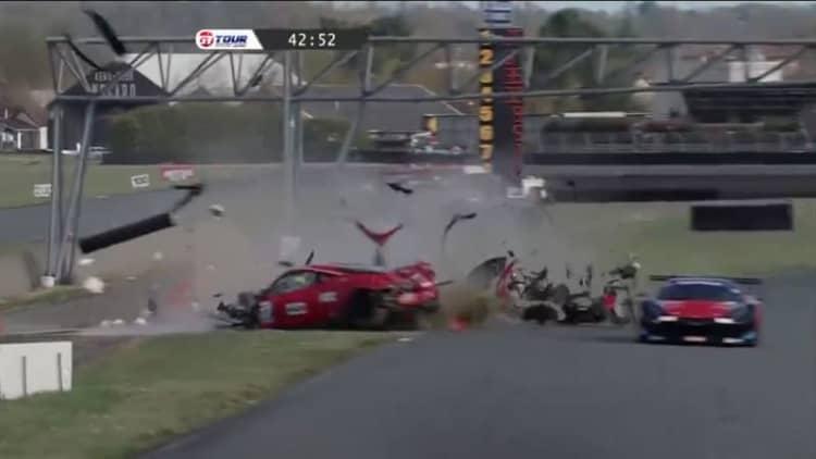 Driver limps away from massive Ferrari crash