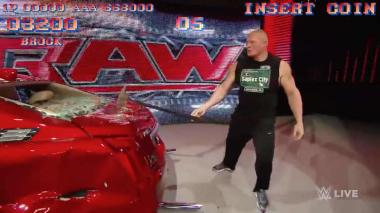 Brock Lesnar does M. Bison impression on Cadillac CTS