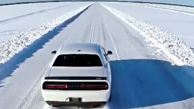 It ain't easy keeping a Hellcat steady at 170 mph on ice