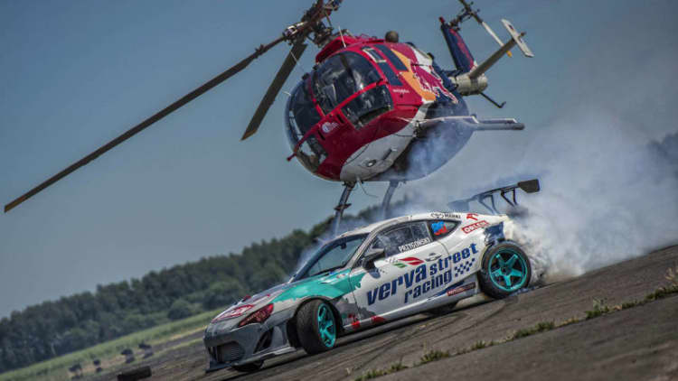 Watch a helicopter prey on a drifting Toyota GT86