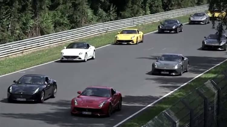 Watch 40 Ferrari F12s hit the Nurburgring at once