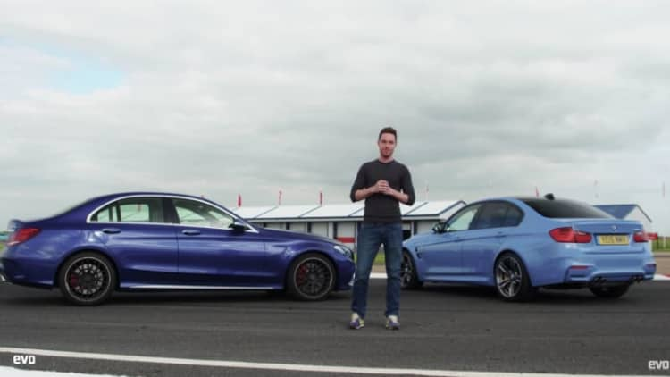 BMW M3 takes on Mercedes-AMG C63 S in track battle from Evo