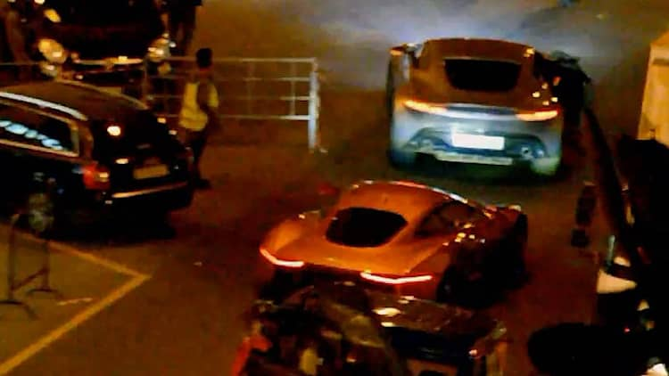 Jaguar C-X75 and Aston Martin DB10 spied drifting during Spectre shoot