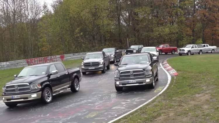 Over 1,000 Ram pickups lap Nürburgring in world record parade
