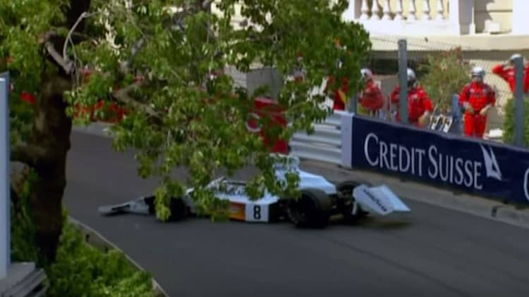 Watch a vintage McLaren F1 car fall from the sky in Monaco