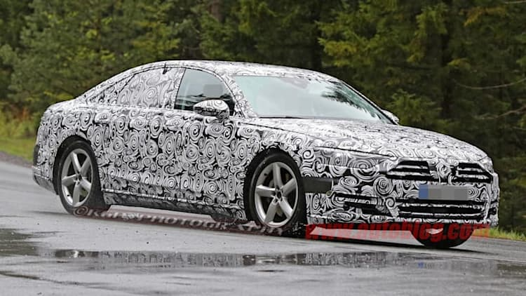 2018 Audi A8 spied with light camo, lots of Prologue touches