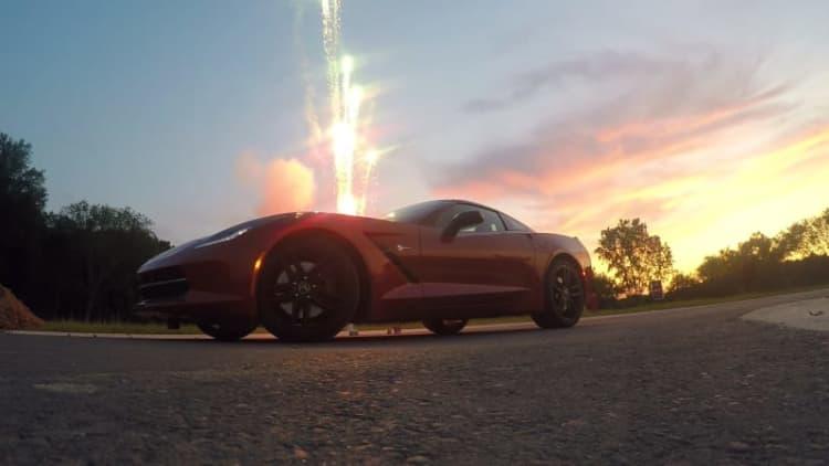 Corvette + fireworks = so much glory