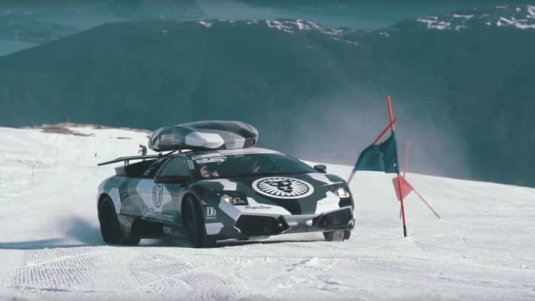 Jon Olsson drives his Lambo up a glacier because why not?