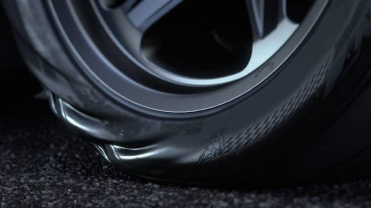 The Dodge Demon's massive torque wrinkles its massive tires