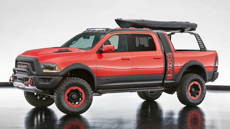 The Ram Macho Power Wagon concept is totally in your face with its cool rack system