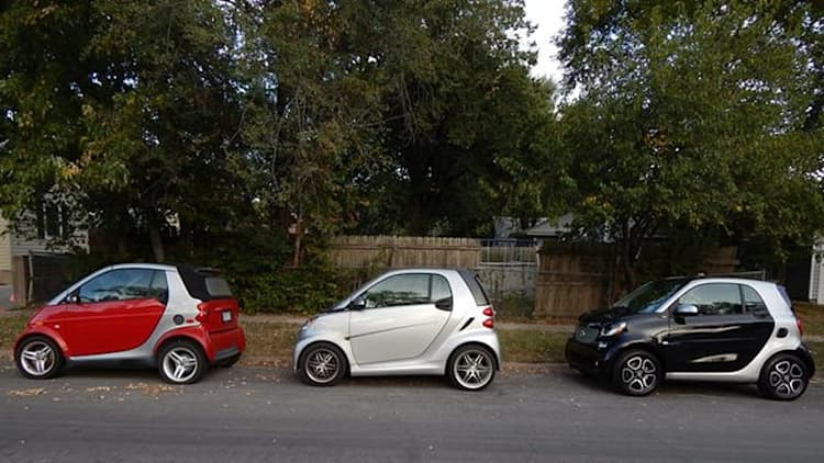 A big family with tiny cars