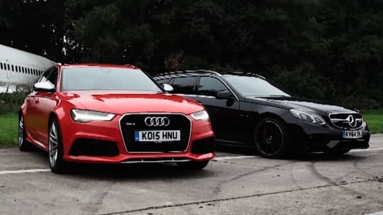Audi RS6 Avant and Mercedes-AMG E63 S drag race for Top Gear