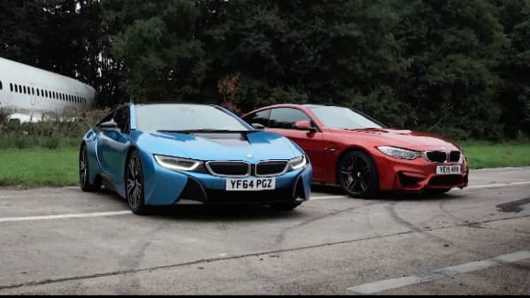 Top Gear drag races the BMW i8 and M4 to decide the future