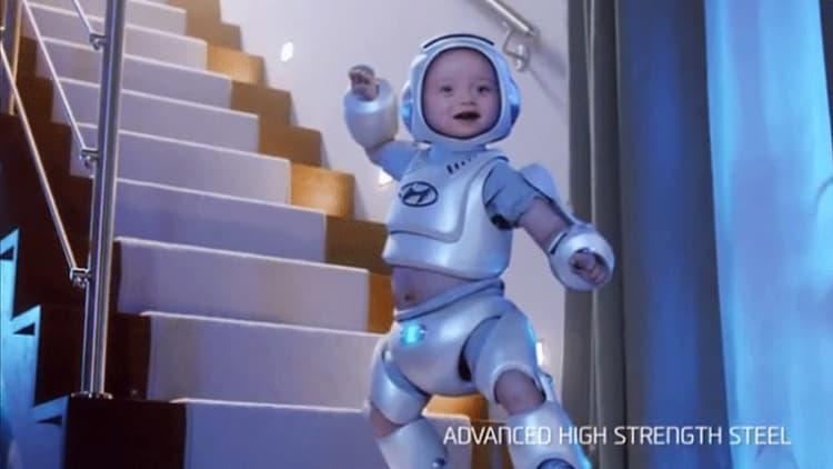 Hyundai's bizarre pooping robot baby pitches new Sonata