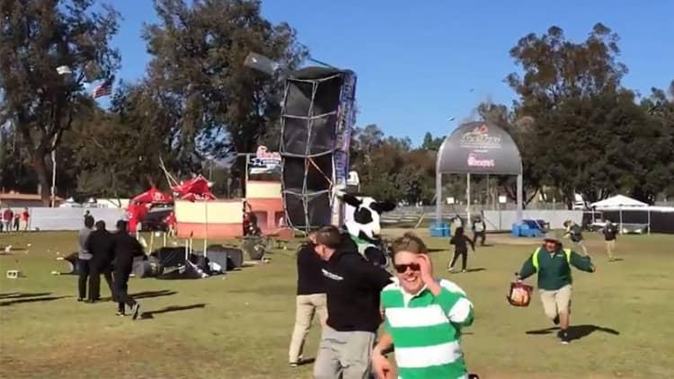 'Tornado' at Rose Bowl Fan Fest wreaks havoc on Honda display