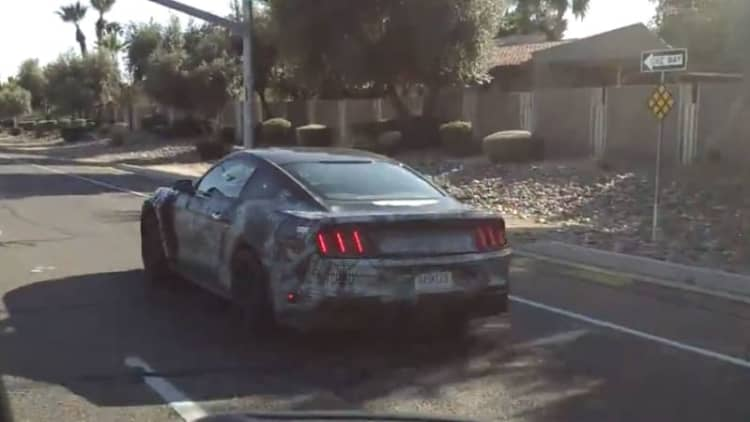 Camouflaged Shelby GT350 seen on the street