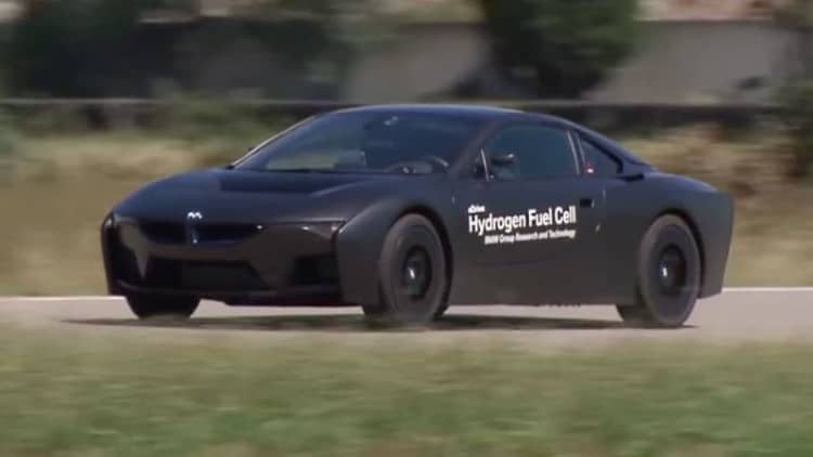 Pure black BMW i8 hydrogen fuel cell prototype on the track