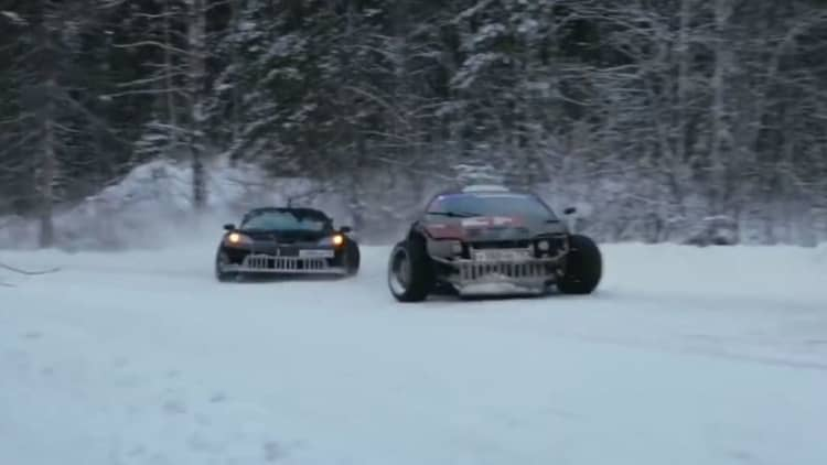 Drift through the Russian winter in a Corvette and a Supra