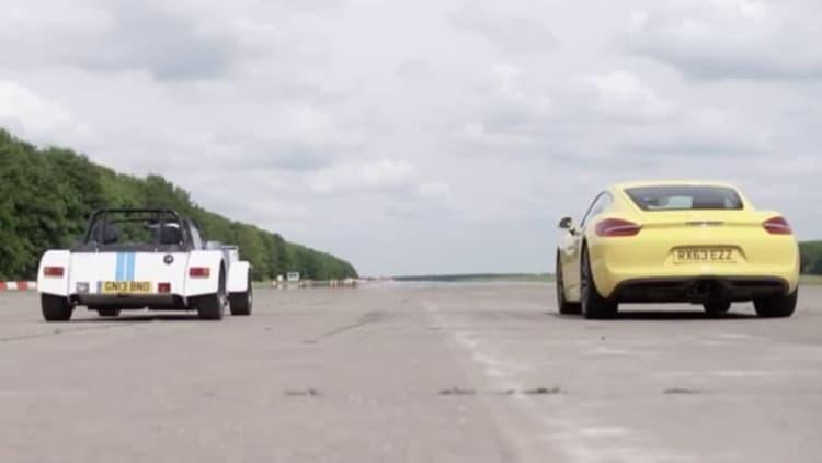 Porsche Cayman S and Caterham 7 go head to head on the drag strip