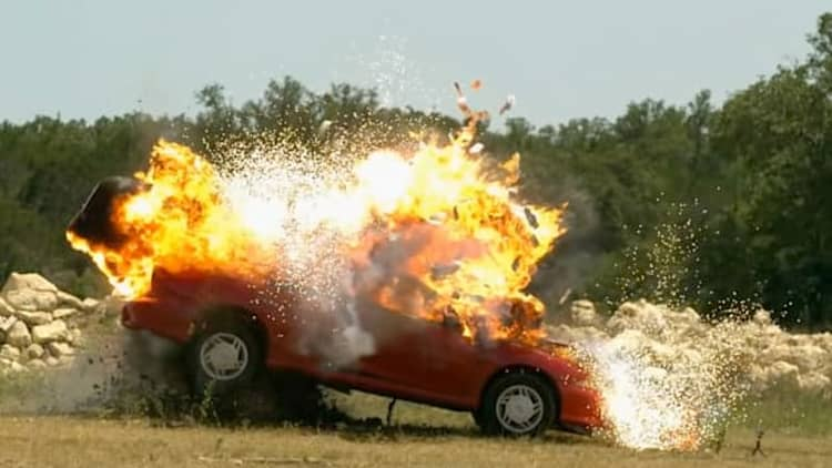 Watch the Slow Mo Guys blow up this Chevy Cavalier Convertible