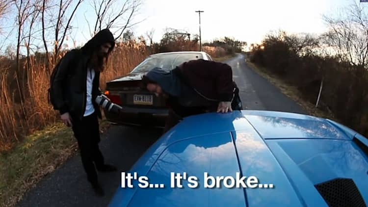 Dave Lang lands 180 Rollerblade jump over Lamborghini, Bam Margera crashes it anyway