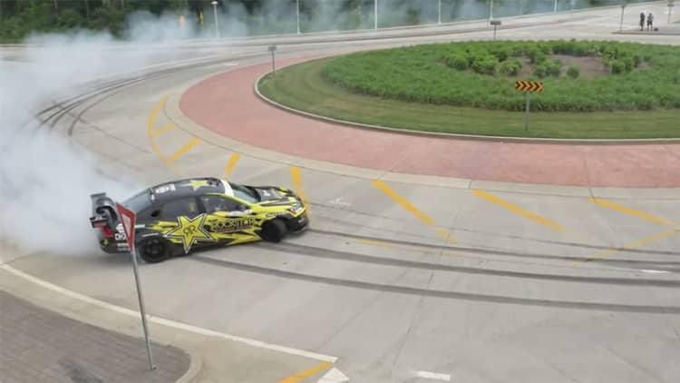 Tanner Foust drifts Rockstar Passat around US Cycling TT course