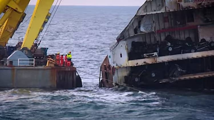 Dutch salvage operation raises over 1,400 sunken Mistubishis