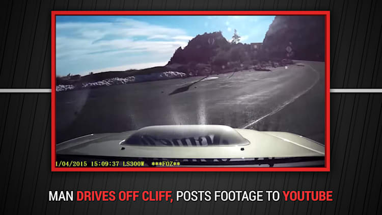 Man posts dashcam video of epic crash over cliff