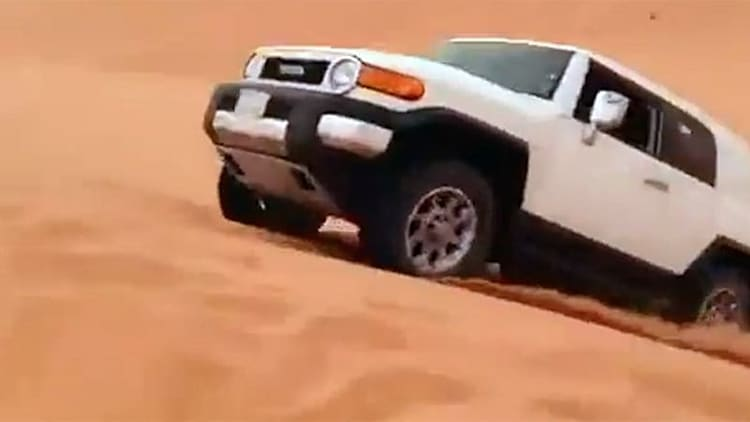 How to jump a Toyota FJ Cruiser over a sand dune... poorly