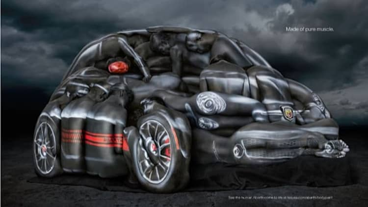 Fiat 500 Abarth made from models in body paint [w/video]
