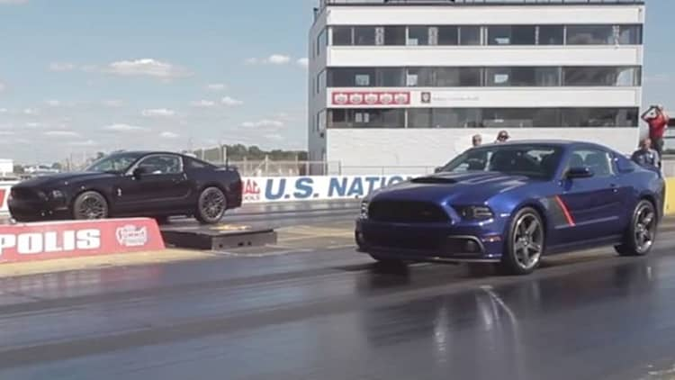 Shelby GT500 and Roush Stage 3 go head to head at the drag strip